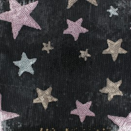 Sewn sequin Fabric - Black Girly star x 10cm