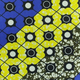 Tissu Wax Alingo - bleu x 10cm