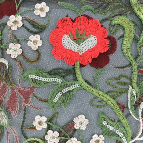 Tissu tulle brodé Katerina - noir x 50cm