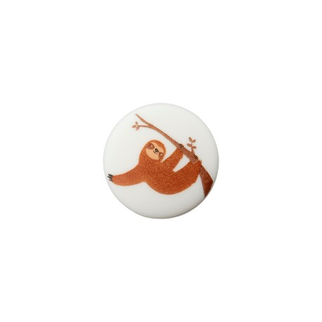 15 mm Polyester Button - White Sloth
