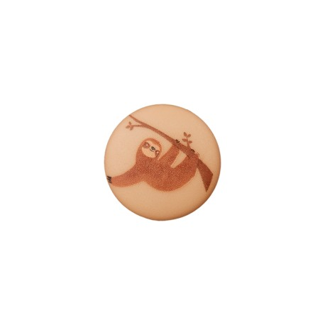 15 mm Polyester Button - Cappuccino Sloth