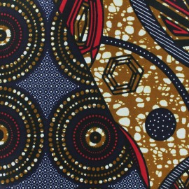 Wax print fabric - Pat Pat navy blue x 10cm