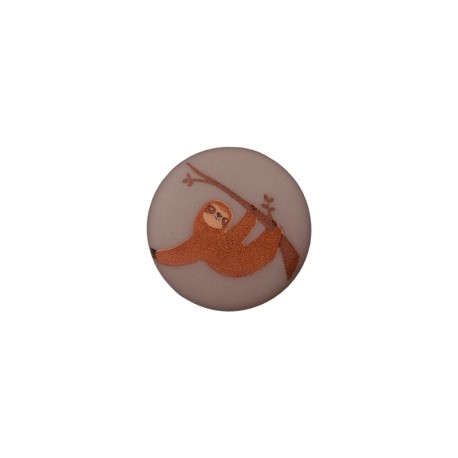 15 mm Polyester Button - Grey Sloth