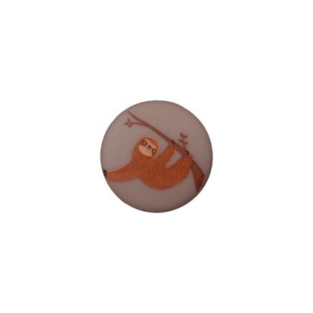 Bouton Polyester Paresseux 15 mm - Gris