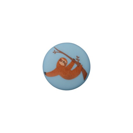 15 mm Polyester Button -  Sloth Pastel Blue