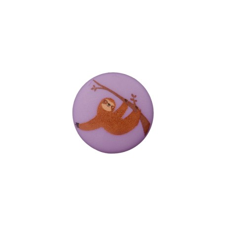 15 mm Polyester Button -  Sloth Lilac