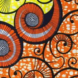 Tissu Wax Aduma - orange x 10cm