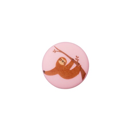 Bouton Polyester Paresseux 15 mm - Rose