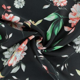 Satin crepe fabric - black x 50cm
