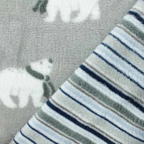 Tissu Doudou double face ours polaire - gris x 10cm