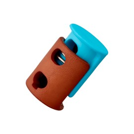 Arrêt Cordon Polyester Duo 23 mm - Turquoise/Marron