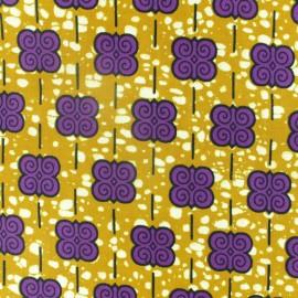 Tissu Wax Eskista - jaune x 10cm