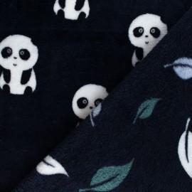 Tissu Doudou double face Panda - noir x 10cm