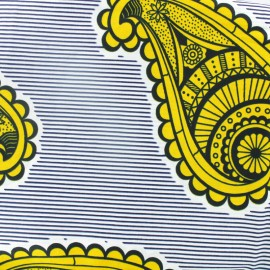 Wax print fabric - Mwomboko yellow x 10cm