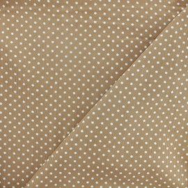 Milleraies white dots velvet fabric - beige background x10cm