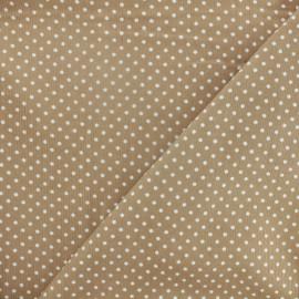 Tissu velours milleraies à pois blanc fond beige x 10cm
