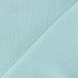 Tissu velours milleraies à pois blanc fond bleu givré x 10cm