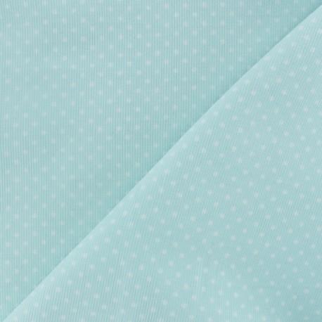 Milleraies white dots velvet fabric - Ice blue x10cm