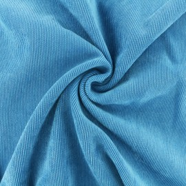 Ribbed velvet fabric - turquoise blue Billie x 10cm