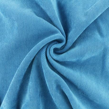 Ribbed velvet fabric - turquoise blue Billie x 10cm