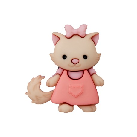 17 mm Polyester Button - Cat in Dress