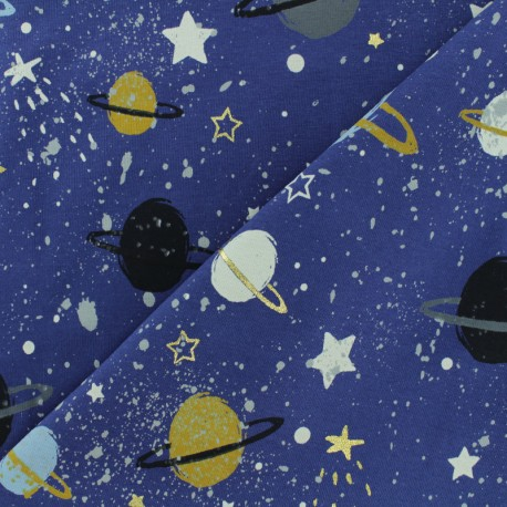 JERSEY FABRIC - Navy Space Planet x 30CM