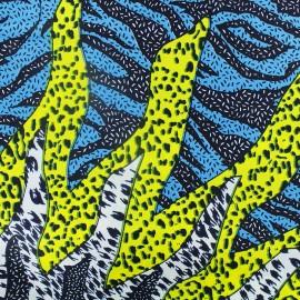 Tissu Wax Zouglou - bleu x 10cm