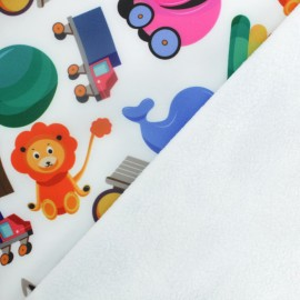 Softshell fabric - white Toys x 10cm