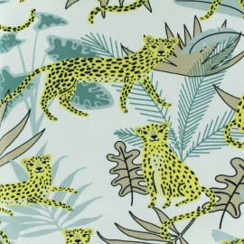 Tissu Jersey Guépard dans la jungle - blanc x 10cm