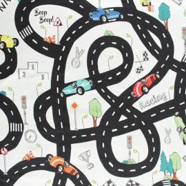 Tissu jersey Circuit de voiture - écru x 73cm