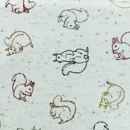 French Terry Fabric - raw Squirrel x 10cm