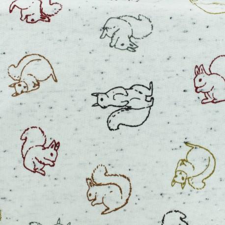 Tissu sweat léger écureuil - écru x 10cm