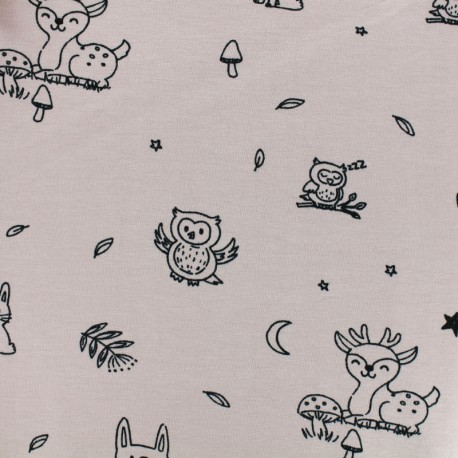 Tissu coton sweat léger Pretty rabbit - Rose x 10cm