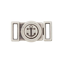 10 mm Anchor Metal Buckle - Ancient Silver
