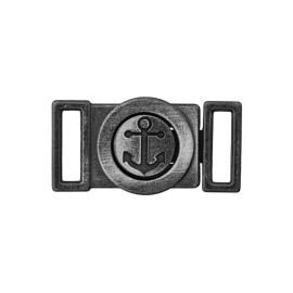 Mini Boucle Métal Ancre 10 mm- Noir Brossé