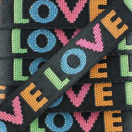 25 mm Polyester Strap - Black Love x 50cm