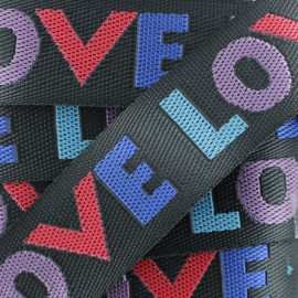 38 mm Polyester Strap - Black Love x 50cm