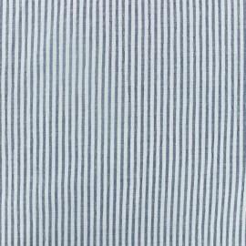 Tissu Seersucker rayé - bleu marine x 10cm