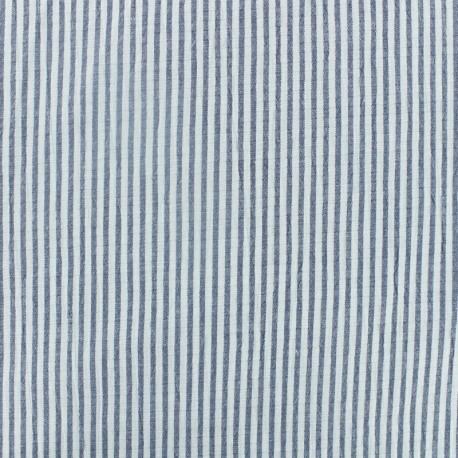 Little stripes Seersucker fabric - blue x 10cm
