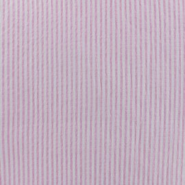 Striped Seersucker fabric - pink x 10cm