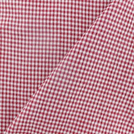 Elastane Seersucker fabric - red Little gingham x 10cm