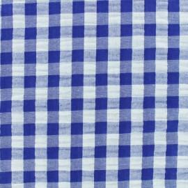 Tissu Seersucker grand vichy - bleu x 10cm