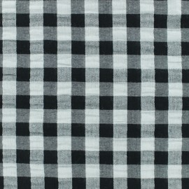 Tissu Seersucker grand vichy - noir x 10cm