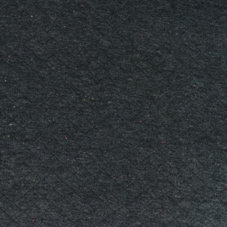 Quilted jersey fabric - anthracite grey/mottled neon x 10cm