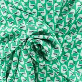 Tissu crêpe Georgette Mouette - vert x 10cm