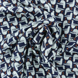 Georgette Crêpe Fabric - navy blue Seagull x 10cm