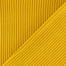 Knitted Jersey 3/3 tubular edging fabric - Yellow mustard x 10 cm
