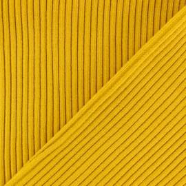 Tissu jersey tubulaire bord-côte 3/3 - jaune moutarde x 10cm