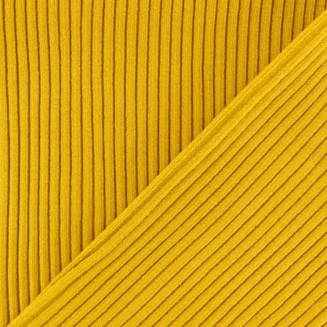 Knitted Jersey 3/3 tubular edging fabric - Yellow mustard x 10 cm