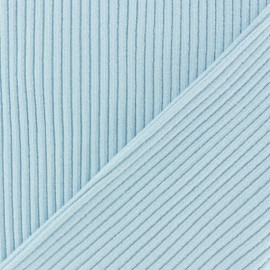 Knitted Jersey 3/3 tubular edging fabric - sky blue x 10 cm